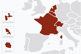 Carte montrant montant les différentes zones (en rouge) où nous intervenons : FRANCE (Métropolitaine et DOM-TOM) - SUISSE - BELGIQUE - LUXEMBOURG