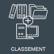Icone grise représentant le classement de documents papier avec des dossiers informatiques avec TRAPEC