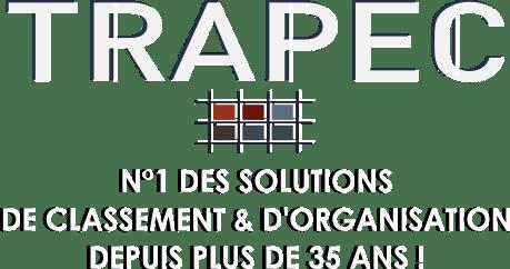 Logo Trapec Expertise Organisation avec le slogan : TRAPEC N°1 des Solutions de Classement et d'Organisation depuis plus de 35 ans !